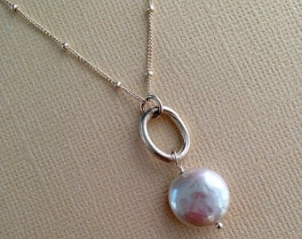 White Coin Pearl Necklace, Single Pearl Necklace, Silver Chain Pearl Necklace by Carrie Whelan Designs