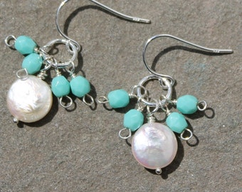 Turquoise Coin Pearl Cluster Earrings, Small Pearl Silver Earrings, Tiffany Blue Earrings