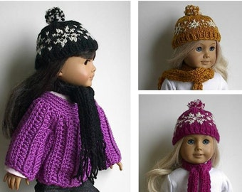 18 Inch Doll Hat & Scarf Set with White Fair Isle Snowflakes You Choose Color Black Gold or Magenta - Handmade to fit the American Girl Doll