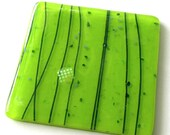 Fused Glass Coasters - Bright Lime Green - Vibrant Abstract Glass Coasters