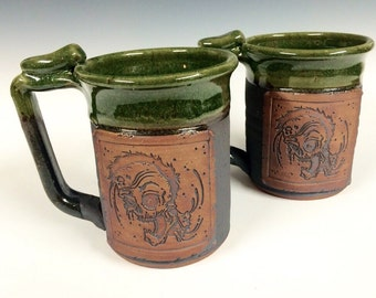 Jumbo 20-24oz Zombie mug, Handmade mug, beer stein, for him, green moss, Ready to ship, the walking dead