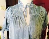 SALE.....Vintage 1980's floral baby blue dress size Sm