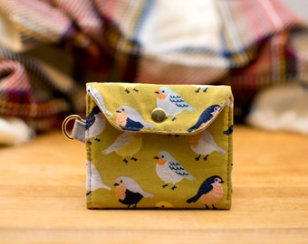 Transit and ID Card Holder, Seapass Holder, Coin Purse, Travel ID, Cruise ID, Keychain, sd Card Holder - Chartreuse Bird & Grey Anchor Print