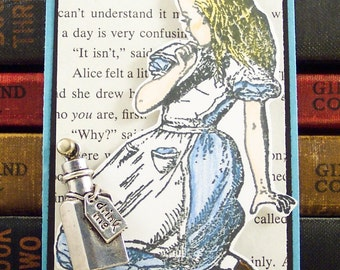 Alice In Wonderland ACEO - Drink Me Bottle Art Card - Alice Mini Collage Art  - ACEO ATC - Mixed Media - Wonderland Card - Alice Book Mark