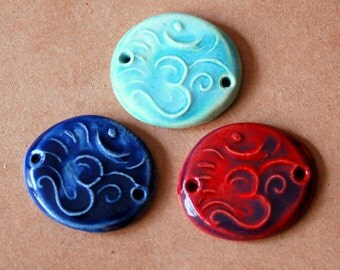 3 Handmade Ceramic Beads - Sweet Set of Bracelet Beads - Om Link Beads