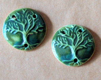 2 Ceramic Tree of Life  Beads - Handmade Tree of Life 3 holed links in Deep Moss Green Connectors for malas and barefoot sandals