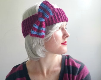 Headband with Bow. Alpaca and Wool. Fucshia with Blue Stripes. Ear Warmer for Women, Teens, Girls