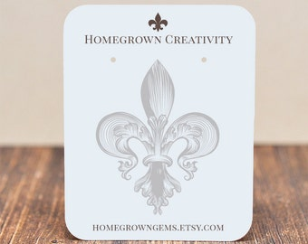 Earring Display Cards - Fleur-de- Ornate Center Design - Customized Jewelry Tags Packaging