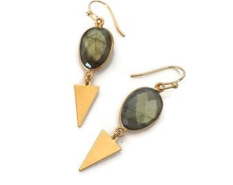 Labradorite Gemstone Earrings // Dangle Birthstone Earrings
