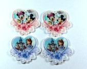 Set of 4 Sofia the First Mickey Mouse minnie Mouse  resin hair bow craft center planar resin