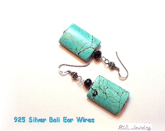 Turquoise Earrings, Big Turquoise Earrings, Statement Earrings - Turquoise and Silver Jewelry - E2016-07