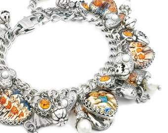 Ghost Charm Bracelet, Halloween Jewelry, Ghost Bracelet, Halloween Charm Bracelet, Pumpkins and Ghosts, Fresh Water Pearls