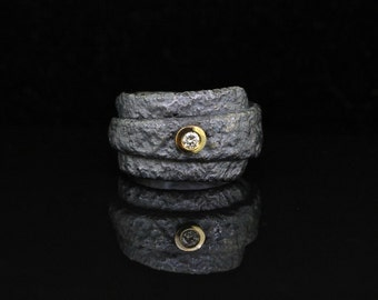 Oxidized silver ring with 18 karat gold bezel and diamond, alternative wedding ring, diamond ring