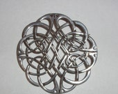 Large Sterling Silver Round Celtic Knot Pin Brooch-Signed IRISH MADE