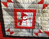 Christmas lap quilt red patchwork with snowmen theme