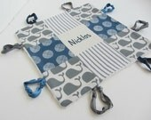 Personalized Baby Boy Lovey with Initial or Name Hand Embroidered ~Choice of Backing Fabric~Blue Grey Beige ~Whales Dots Stripes ~ Nautical