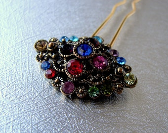 Vintage Fruit Salad Hair Comb Purple Blue Red Green Pink Amber Rhinestone Hair Jewelry Jeweled Hairpin Prom Formal Pageant Wedding Bridal