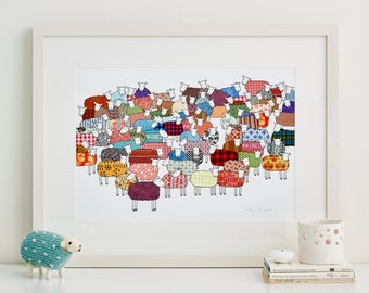 Colourful Sheep Fine Art Print