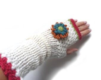 Crochet fingerless gloves, arm warmers, mittens, fingerless mitts - cream white with flowers - FRISKIES