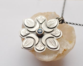 Blue Topaz Pendant in Textured/Detailed Silver, Hand Stamped Silver Pendant, Blue Gemstone Necklace, Gift for a Friend, Gift for Her