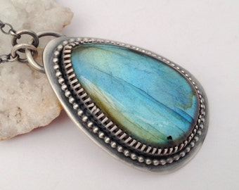 Handmade Metalsmithed Labradorite Necklace with Intense Blue Fire, Contemporary Jewelry, Artisan Made Jewelry, Oxidized Metalwork