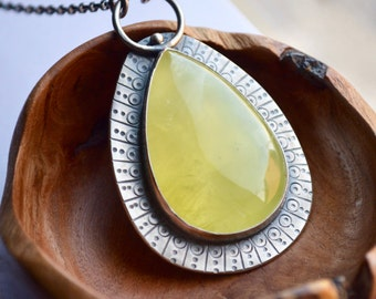 Stunning Handmade Prehnite Necklace, Statement Jewelry, Textured Bezel Set Necklace, Contemporary Jewelry