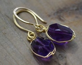 Royal Purple Amethyst Faceted Nugget on 14kt Gold Fill Earrings
