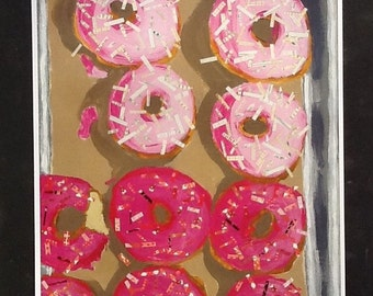 Pink Doughnuts Limited Edition Print From Original Collage
