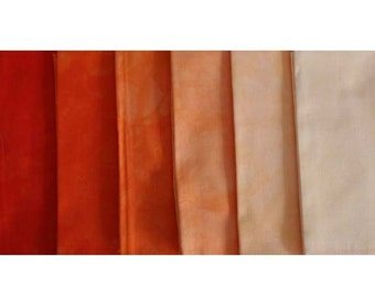 Hand Dyed Fabric - muted ORANGE Shades -6 pc Fat Quarter Gradation Bundle - Tuscan Rose MO441