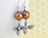 Pearl Honey Bee Earrings, Bronze Pearl Earrings, Bumble Bee, Nature Jewelry, Dangle Earrings, Silver Earrings, Gift For Woman