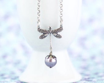 Silver Dragonfly Necklace, Mauve Pearl Necklace, Dragonfly Pendant, Rhodium Plated Sterling Silver, Dragonfly Charm, Girlfriend Gift