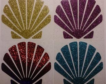 DIY Little Mermaid Ariel Seashell Bra Glitter Vinyl, 1 set Scalloped Sea Shells, Iron-On Appliques