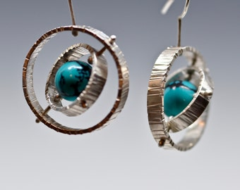 Gimbal Earrings sterling silver turquoise