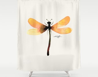 Yellow Dragonfly Shower Curtain from Original abstract watercolor art painting by Kathy Morton Stanion  EBSQ