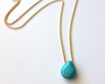 Tiny Turqouise Drop Necklace