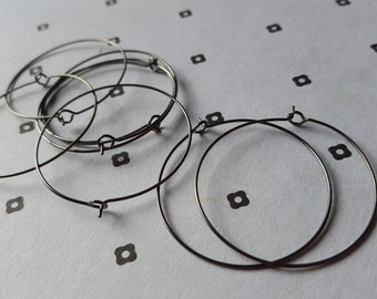 35mm Gunmetal Earring Hoops (4 pairs)