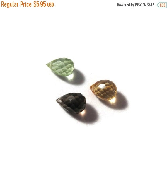 Solstice SALE-2 Days Only 3 Gemstone Beads, Smoky Quartz, Citrine & Peridot Mixed Lot, Multi Stone Quartz Briolette Bag, Three Stones (L-Mix