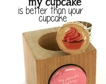 Pink Cupcake Ring - Cupcake Jewelry - Baking Gift - Cupcake War - Recycle Wine Cork Ring in Wood Cube by Uncorked