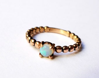 Handmade Solid 14k Rose Gold and Genuine Opal Pronged Ring with Beaded Band