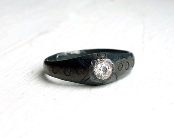 Black and White CZ Pinky Ring- Oxidized Sterling Silver Hand Cared Pinky Ring