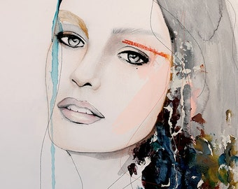 Still  - Fashion Illustration Art Print ,Portrait, Mixed Media Painting by Leigh Viner