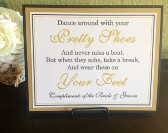 8x10 Flat Wedding Dancing Shoes Flip Flop Basket Sign in Black and White and Metallic Gold - READY TO SHIP