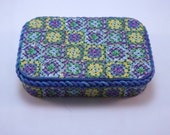 Handmade Colorful Faux Granny Squares Afghan Polymer Clay Covered Tin