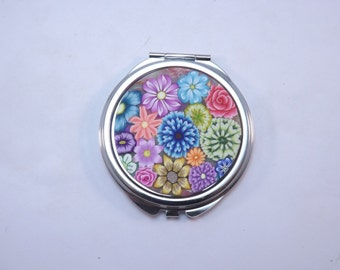 Polymer Clay Embellished Compact Purse Mirror, Colorful Millefiori Floral
