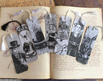 Alice In Wonderland Bookmark Set Queen of Hearts Bookmark Alice Bookmark Mad Hatter Bookmark White Rabbit Bookmark Dormouse Bookmark Cat