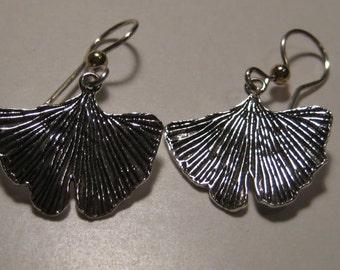 Ginkgo Earrings  ......... Sterling Silver ...                    e843