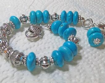 Magnesite, Pewter and Glass Beaded Bracelet Supply Kit