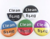 Clean Dirty Dishwasher Magnet / Minimal, Black and White, Blue and Orange, Purple and Yellow, Red and Green / Organization, Kitchen