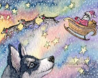 Siberian Husky Hund 5 x 7 8 x 10 11x14 Weihnachten Urlaub Weihnachten Saison Sibes Schlittenhunde der Schlitten des Weihnachtsmannes durch Susan Alison Aquarell Kunstdruck