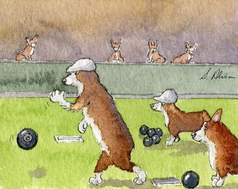 Welsh Corgi dog 8x10 print an afternoon on the bowling green lawn bowls sport leisure jack kitty pitch game target competition Susan Alison